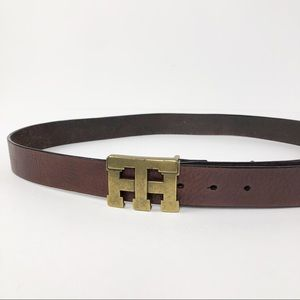 Tommy Hilfiger Brown Leather Belt Brass Buckle